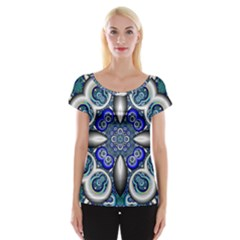 Fractal Cathedral Pattern Mosaic Women s Cap Sleeve Top