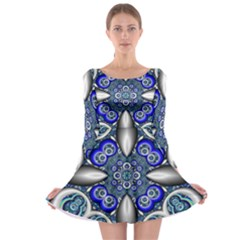 Fractal Cathedral Pattern Mosaic Long Sleeve Skater Dress