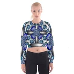 Fractal Cathedral Pattern Mosaic Women s Cropped Sweatshirt