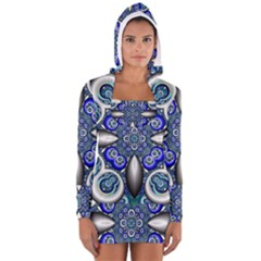Fractal Cathedral Pattern Mosaic Women s Long Sleeve Hooded T-shirt