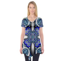 Fractal Cathedral Pattern Mosaic Short Sleeve Tunic