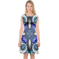 Fractal Cathedral Pattern Mosaic Capsleeve Midi Dress