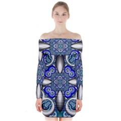 Fractal Cathedral Pattern Mosaic Long Sleeve Off Shoulder Dress