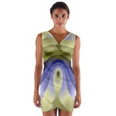 Fractal Eye Fantasy Digital Wrap Front Bodycon Dress