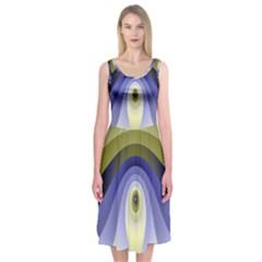 Fractal Eye Fantasy Digital Midi Sleeveless Dress