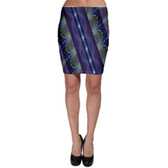 Fractal Blue Lines Colorful Bodycon Skirt