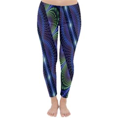 Fractal Blue Lines Colorful Classic Winter Leggings