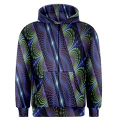 Fractal Blue Lines Colorful Men s Zipper Hoodie