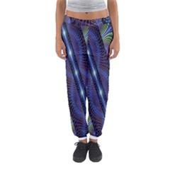 Fractal Blue Lines Colorful Women s Jogger Sweatpants