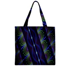Fractal Blue Lines Colorful Zipper Grocery Tote Bag