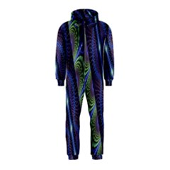 Fractal Blue Lines Colorful Hooded Jumpsuit (kids)