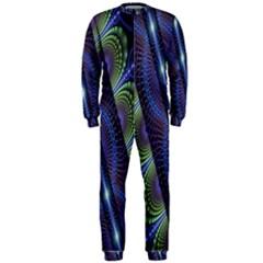 Fractal Blue Lines Colorful OnePiece Jumpsuit (Men)
