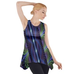 Fractal Blue Lines Colorful Side Drop Tank Tunic