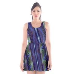 Fractal Blue Lines Colorful Scoop Neck Skater Dress