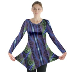 Fractal Blue Lines Colorful Long Sleeve Tunic