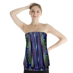 Fractal Blue Lines Colorful Strapless Top