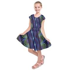 Fractal Blue Lines Colorful Kids  Short Sleeve Dress