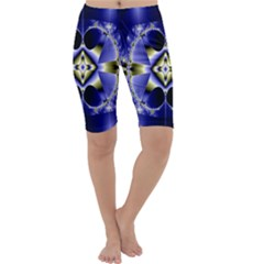 Fractal Fantasy Blue Beauty Cropped Leggings