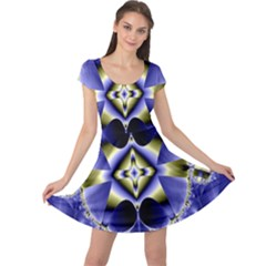 Fractal Fantasy Blue Beauty Cap Sleeve Dresses