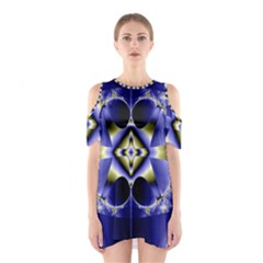 Fractal Fantasy Blue Beauty Shoulder Cutout One Piece