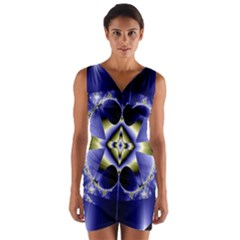 Fractal Fantasy Blue Beauty Wrap Front Bodycon Dress