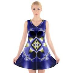 Fractal Fantasy Blue Beauty V Neck Sleeveless Skater Dress