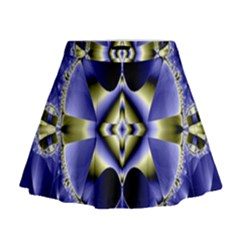 Fractal Fantasy Blue Beauty Mini Flare Skirt