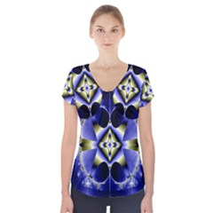 Fractal Fantasy Blue Beauty Short Sleeve Front Detail Top