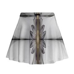 Fractal Fleur Elegance Flower Mini Flare Skirt