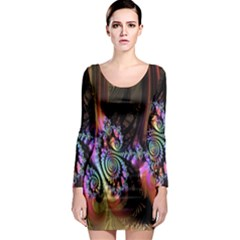 Fractal Colorful Background Long Sleeve Bodycon Dress