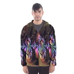 Fractal Colorful Background Hooded Wind Breaker (Men)