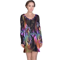 Fractal Colorful Background Long Sleeve Nightdress