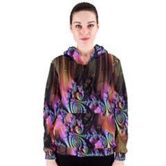 Fractal Colorful Background Women s Zipper Hoodie