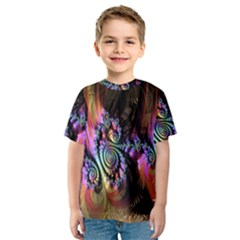 Fractal Colorful Background Kids  Sport Mesh Tee