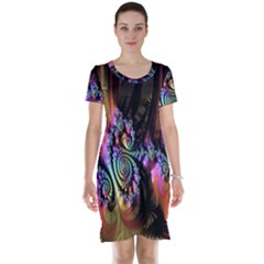 Fractal Colorful Background Short Sleeve Nightdress