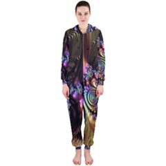 Fractal Colorful Background Hooded Jumpsuit (ladies)