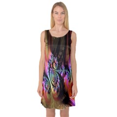Fractal Colorful Background Sleeveless Satin Nightdress