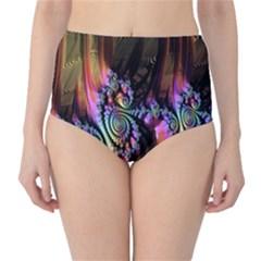 Fractal Colorful Background High Waist Bikini Bottoms