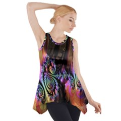 Fractal Colorful Background Side Drop Tank Tunic
