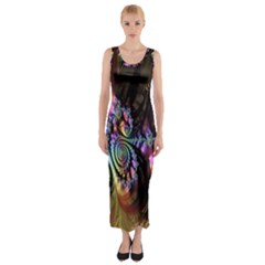 Fractal Colorful Background Fitted Maxi Dress