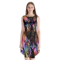 Fractal Colorful Background Sleeveless Chiffon Dress