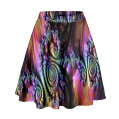Fractal Colorful Background High Waist Skirt