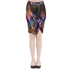 Fractal Colorful Background Midi Wrap Pencil Skirt