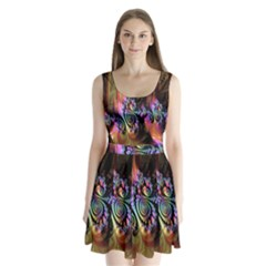Fractal Colorful Background Split Back Mini Dress
