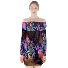 Fractal Colorful Background Long Sleeve Off Shoulder Dress
