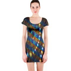 Fractal Art Digital Art Short Sleeve Bodycon Dress