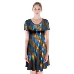 Fractal Art Digital Art Short Sleeve V-neck Flare Dress