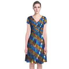 Fractal Art Digital Art Short Sleeve Front Wrap Dress