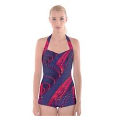 Fractal Art Digital Art Boyleg Halter Swimsuit