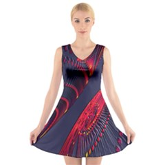 Fractal Art Digital Art V Neck Sleeveless Skater Dress